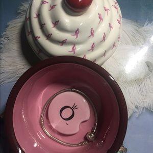 Pandora Breast Cancer Ceramic Jar and Bracelet